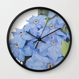Blue Clematis Flowers on Knotted Fence Post Wall Clock