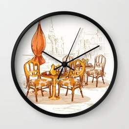 Street Cafe Sketch Wall Clock