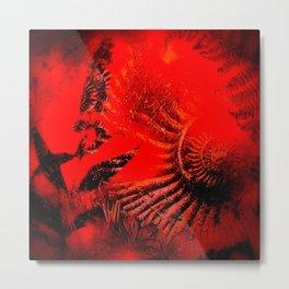 Ammonite Red & Buddleia Red Metal Print