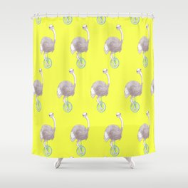 Ostrich on Monocycle Shower Curtain