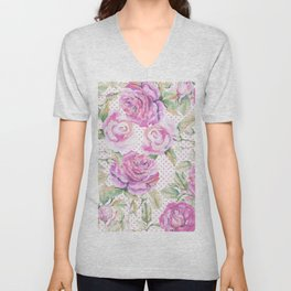 Watercolor hand painted pink lavender roses polka dots Unisex V-Neck