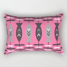 Aztec fish pattern-magenta Rectangular Pillow