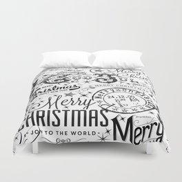 Black and White Christmas Typography Design Duvet Cover