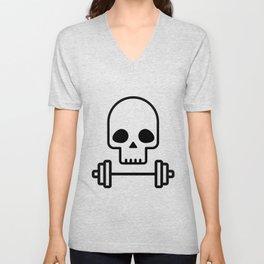 Deadlift - Skull with barbell Unisex V-Neck