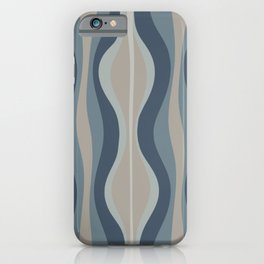 Mid Century Modern Hourglass Abstract in Neutral Blue-Gray   iPhone Case