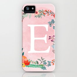 Flower Wreath with Personalized Monogram Initial Letter E on Pink Watercolor Paper Texture Artwork iPhone Case