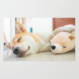 shiba sleeping Rug