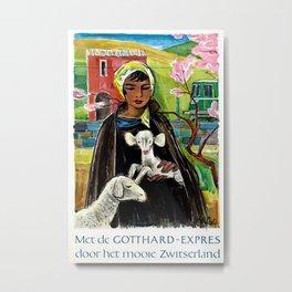 Gotthard-Express Dutch Vintage Travel Poster Metal Print