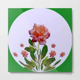 GREEN COLOR   CORAL  PINK ROSES BOTANICAL ART Metal Print