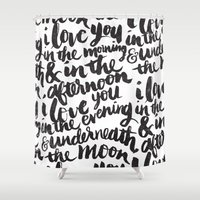 paper Shower Curtains featuring I love you in the morning by Matthew Taylor Wilson