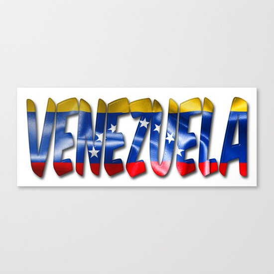 Venezuela Word With Flag Texture Canvas Print