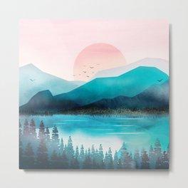 Morning Mountain Mist Metal Print