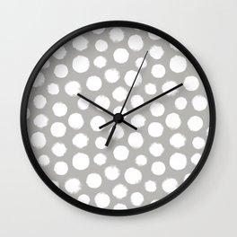 Gray & White Large Polka Dots  Wall Clock