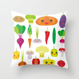 Kawaii vegetables peppers, pumpkin beets carrots, eggplant, red hot peppers, cauliflower, broccoli Throw Pillow