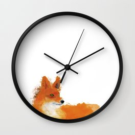 Fox in a watercolour style illustration Wall Clock