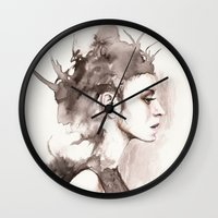 hydra Wall Clocks featuring Hydra by BookOfFaces