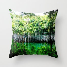 Travel Photography : Los Tres Ojos - Dominican Republic Cave Throw Pillow