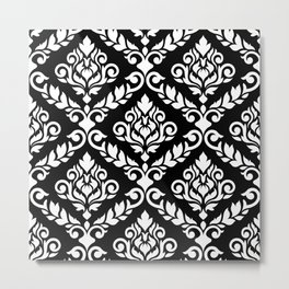 Prima Damask Pattern White on Black Metal Print