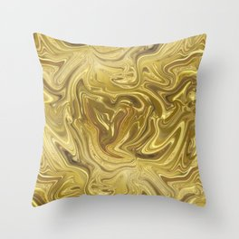 Rich Gold Shimmering Glamorous Luxury Marble Throw Pillow