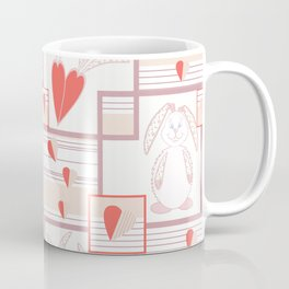 Children pattern with rabbits and hearts. Coffee Mug