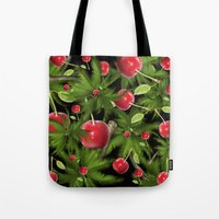 cherry Tote Bags featuring cherry by mark ashkenazi