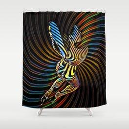 0474s-MM Abstract Nude Figure Zebra Striped Op Art Nude Woman Shower Curtain