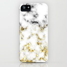 Black and white marble gold sparkle flakes iPhone Case