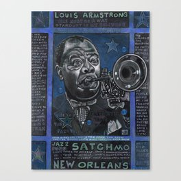 Louis Armstrong in Blue Canvas Print