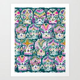 CARPE DIEM SKULLS - EMERALD Art Print