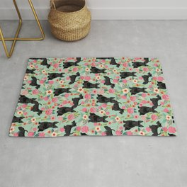 Scottish Terrier florals pattern dog breed dog art pet portraits pet friendly scottie gifts Rug