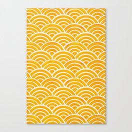 Japanese Seigaiha Wave – Marigold Palette Canvas Print
