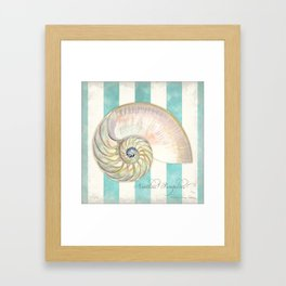 Nautilus Shell Striped Shabby Beach Cottage Watercolor Illustration Framed Art Print