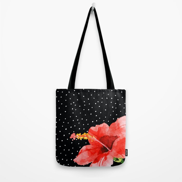 Tropical flower on dots Tote Bag
