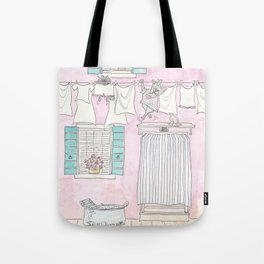 Venice Pink and White Washing Day Fun Tote Bag