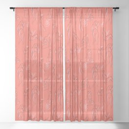 Coral Women Sheer Curtain