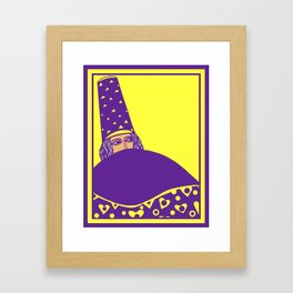 The wizard, vector drawing in yellow and purple Framed Art Print