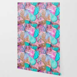 Turquoise butterflies on a pink background - lovely summer mood Wallpaper
