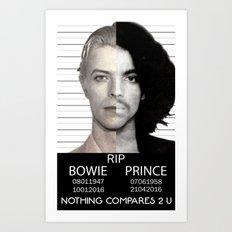 BOWIE + PRINCE Mugshot Art Print