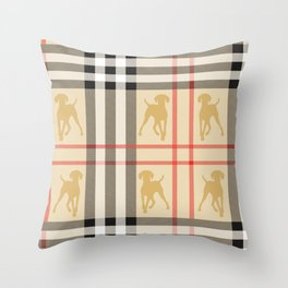 WEIMARANERS AND BEIGE PLAID Throw Pillow