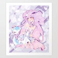 mew Art Prints featuring Lady Mew Mew  by Chocolat