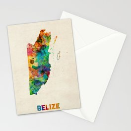 Belize Watercolor Map Stationery Cards