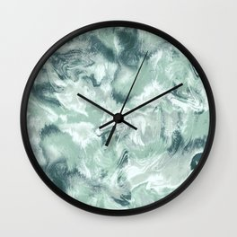 Marble Mist Green Grey Wall Clock