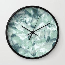 Marble Mist Green Grey Wall Clock