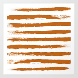 Autumn Maple STRIPES Handpainted Brushstrokes Art Print