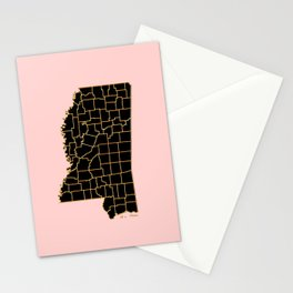 Mississippi map Stationery Cards