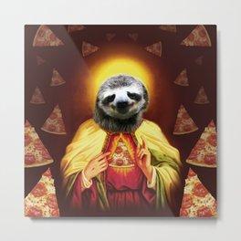 Holy Pizza Sloth Lord Jesus All over big print Animal Savior Metal Print