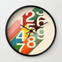 budi Wall Clocks featuring Retro Numbers by Picomodi