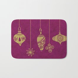 Christmas Glamour gold and red ornaments Bath Mat