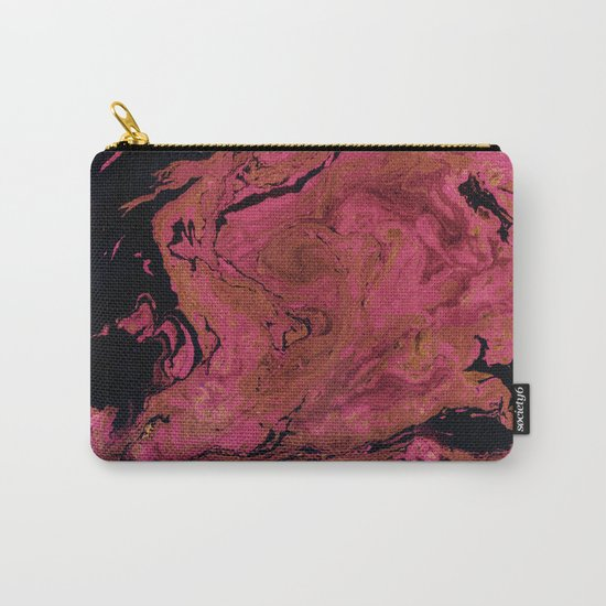 Marble texture background black and cream , pink shades . Carry-All Pouch