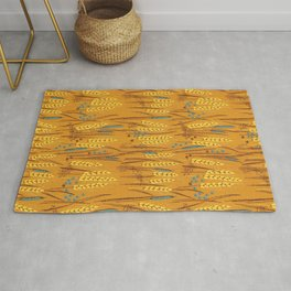 Pattern of Wheat Field Gold and Grey Rug